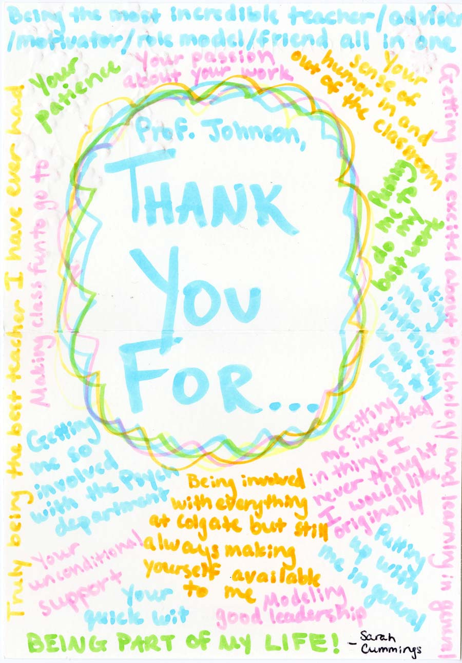 colorful note sent to doug johnson