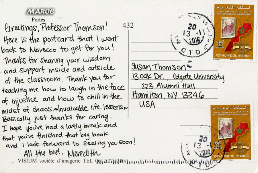 Colgate students thanking faculty mentors copy of the postcard sent to professor thomson spiritdancerdesigns Image collections