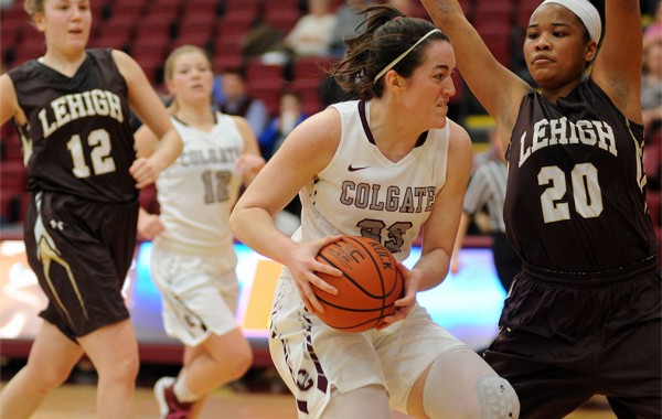 Julia Barcello drives with the ball against Lehigh