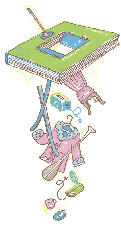 Illustration of assorted objects such as a chair, skis, a coat, and a mixer falling through a book