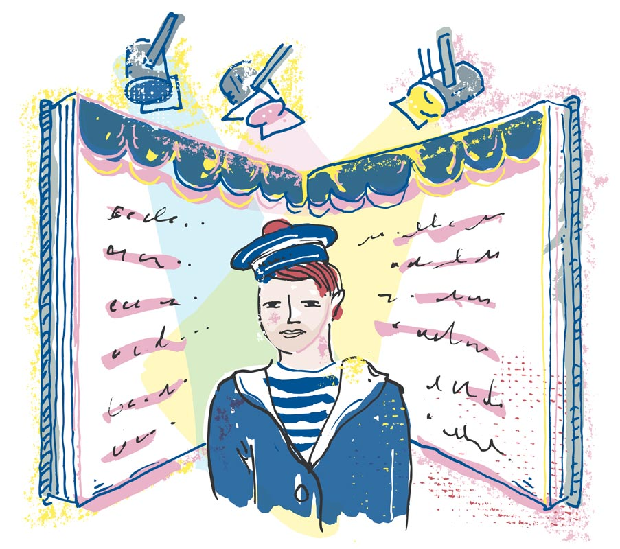 Illustration of a young person in uniform under stage lights in front of a book