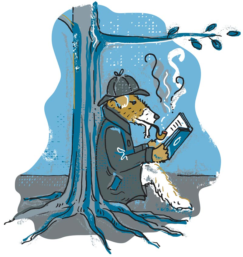 Illustration of an animal dressed as Sherlock Holmes reading and smoking a pipe against a tree