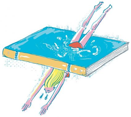 Illustration of a woman diving through a book
