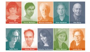Poster of portraits of each Living Writers speaker
