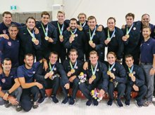 Naresh Rao '93, with Men's USA Water Polo team sporting gold medals