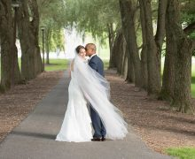 Ruthie Fish '09 and Rodney Jehu-Appiah '10 on their wedding day on Willow Path.