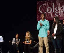 Student entrepreneurs on stage for a shark tank