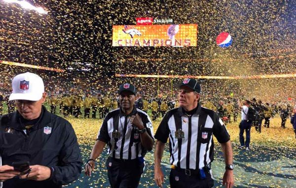 Walking off the field as one of the refs of the Super Bowl 50 game.
