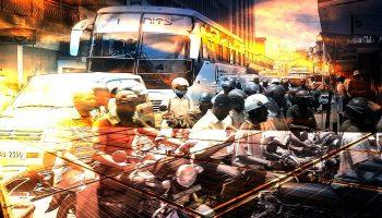 Artistic mashup of a busy Ugandan city
