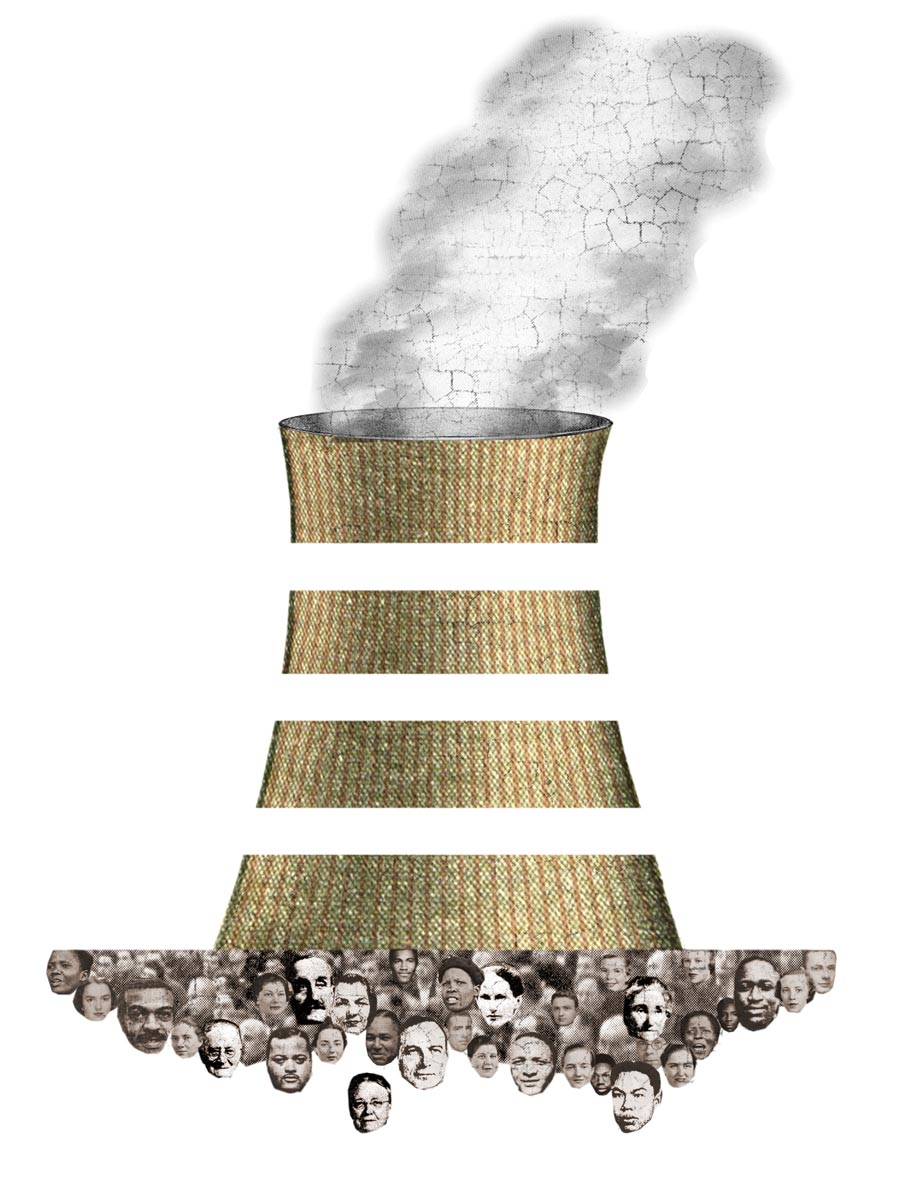 Illustration of faces beneath an nuclear plant stack