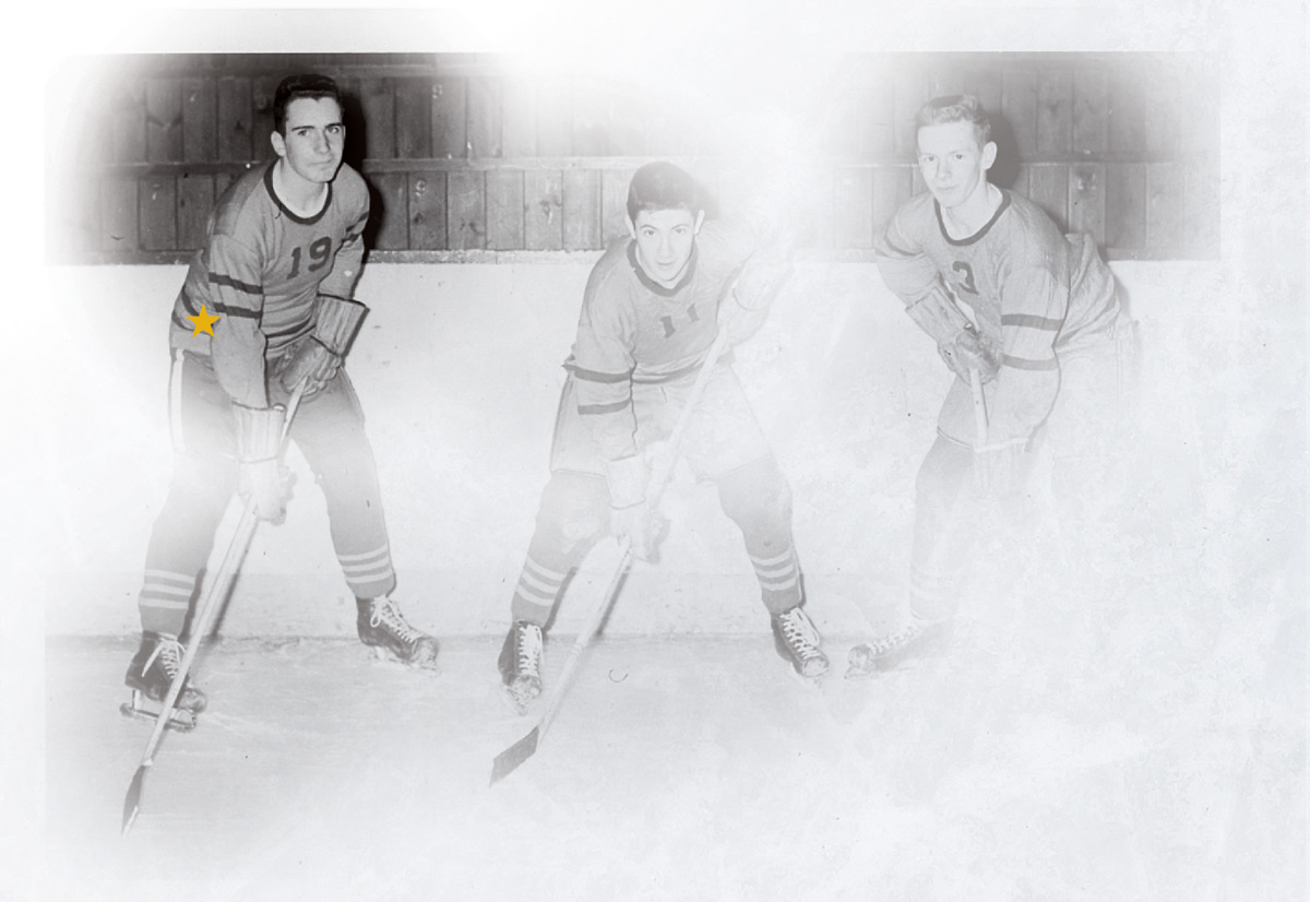 Steve Riggs on the ice as a teen with two teammates