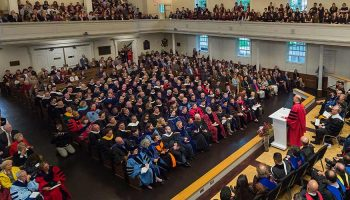 Photo of President Casey giving his speech in the chapel at inauguration.