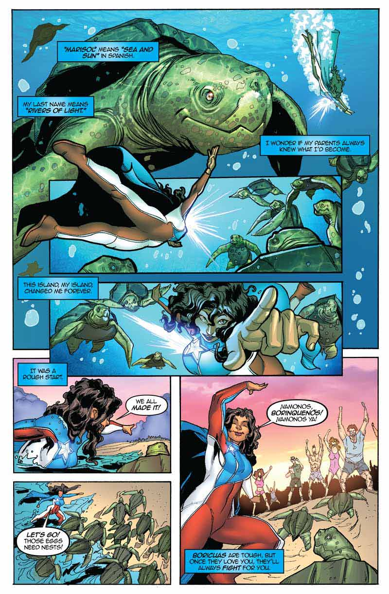 Sample comic strip in which the heroine leads sea turtles to the proper beach