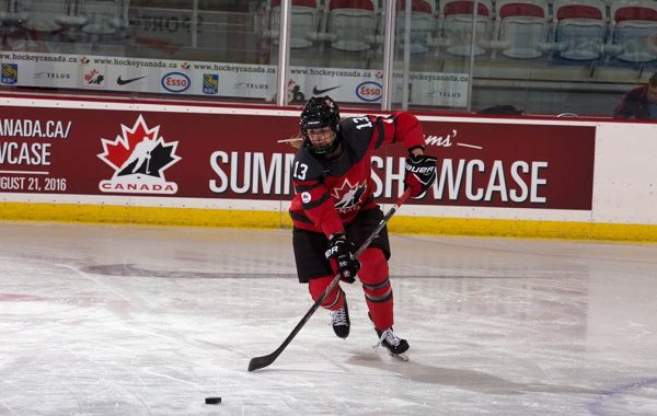 Shae Labbe '19 skating in Canadian hockey uniform