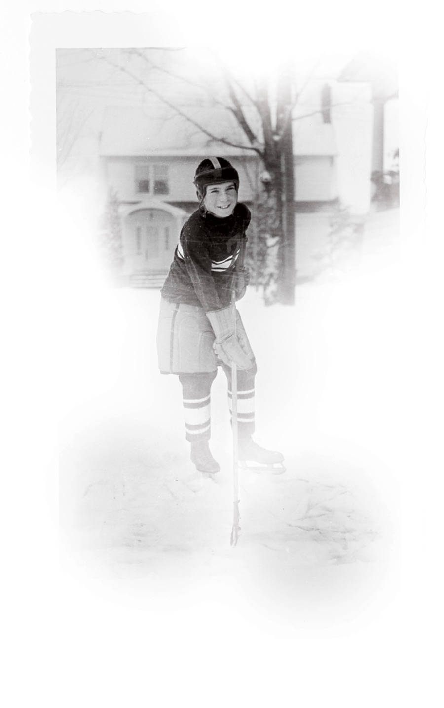 Childhood photo of Steve Riggs in hockey attire