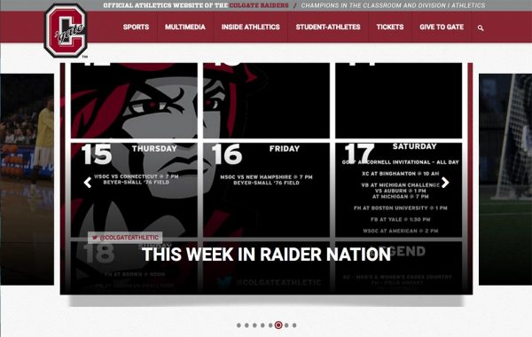 Screenshot of the new New GoColgateRaiders.com homepage