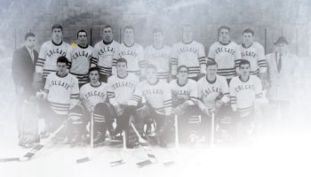 Colgate Hockey team photo highlighting Steve Riggs