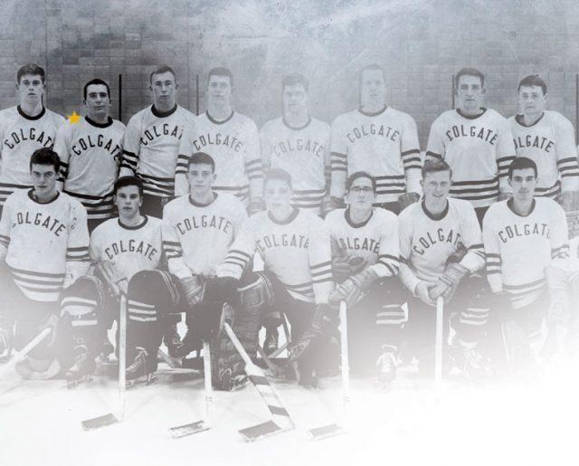 Colgate Hockey team photo highlighting Steve Riggs