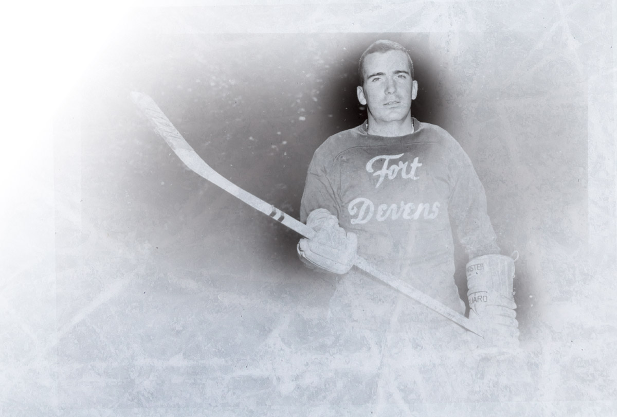 Steve Riggs in a Fort Devens hockey uniform