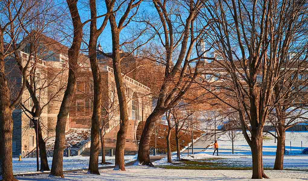 A student walks past case library as grass pokes through the snow on a sunny winter day.
