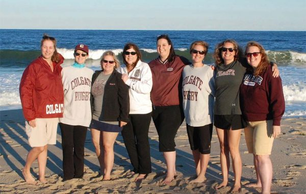 Pictured here in Bay Head, N.J., these 1988 alumnae have gotten together annually for the past 15 years. L to R: Diann Gropp-Roth, Elise Pattison, Tracy McNamara Morrison, Patty Carroll Quartuccio, Barbara Ballina Saint-Laurent, Lynn Christensen, Carol Chernaik Rumpler, and Lisa Carney Eldridge.