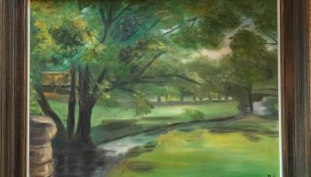 Scenic painting of Payne Creek and Willow Path on campus
