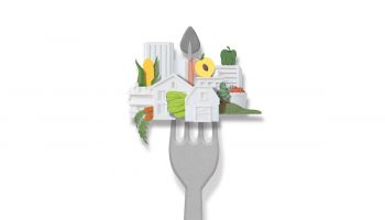 Illustration of a cityscape with food intermixed, all on the end of a fork