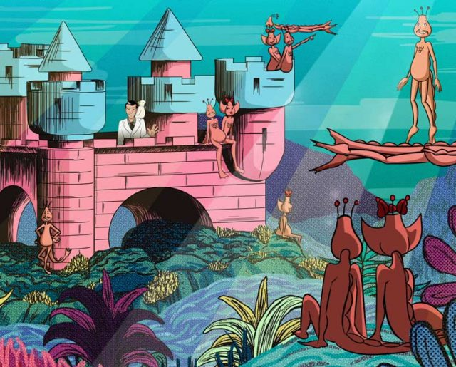 Illustration of an underwater castle with anthropomorphized sea monkeys
