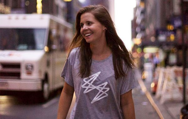 Katie Sullivan walking down a street in NYC