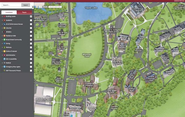 Screenshot of the online Colgate campus map .