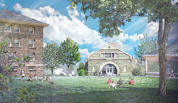 Artist's rendering of Benton Hall as seen from the Academic Quad