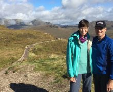 Jim '84 and Susan Corkran Hutton '83 on the West Highland Way in Scotland.