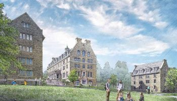 Sketch of one of the two new residence halls to be built on the upper quad.