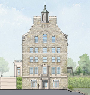 Artist's rendering of the front façade of one of the new residence halls