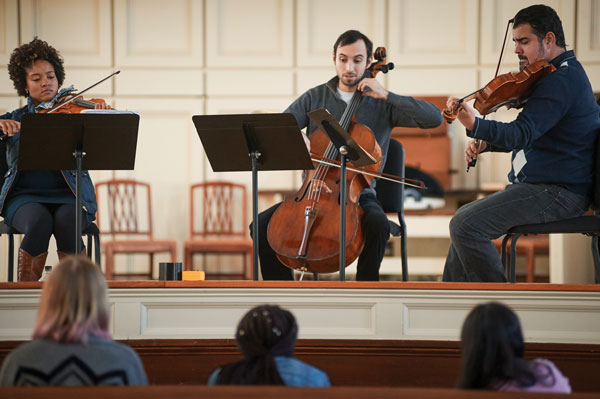 Harlem Quartet performing in Colgate Memorial Chapel