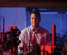 Jonathan Habif '98 in a lab on campus during his visit to Colgate.