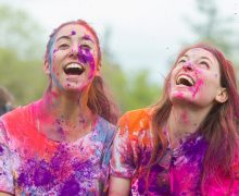 Colgate students take part in the Holi festival of color, Apr. 29, 2017 in Hamilton, N.Y. Photo by Samto Wongso '19 / Colgate University