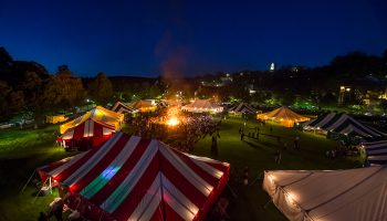 A bird's-eye view of the colorful Reunion tents on Whitnall Field