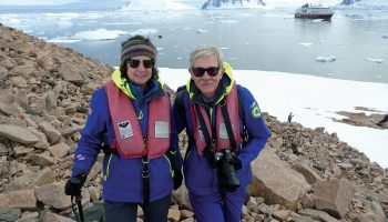 Linda Buchanan Allen '77 and her husband in Antarctica