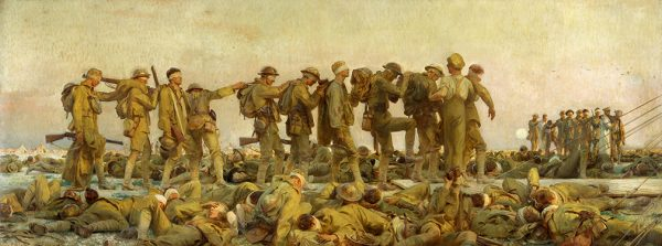 "Gassed, John Singer Sargent, oil painting, 7' 7"" x 20' 1"", 1919"