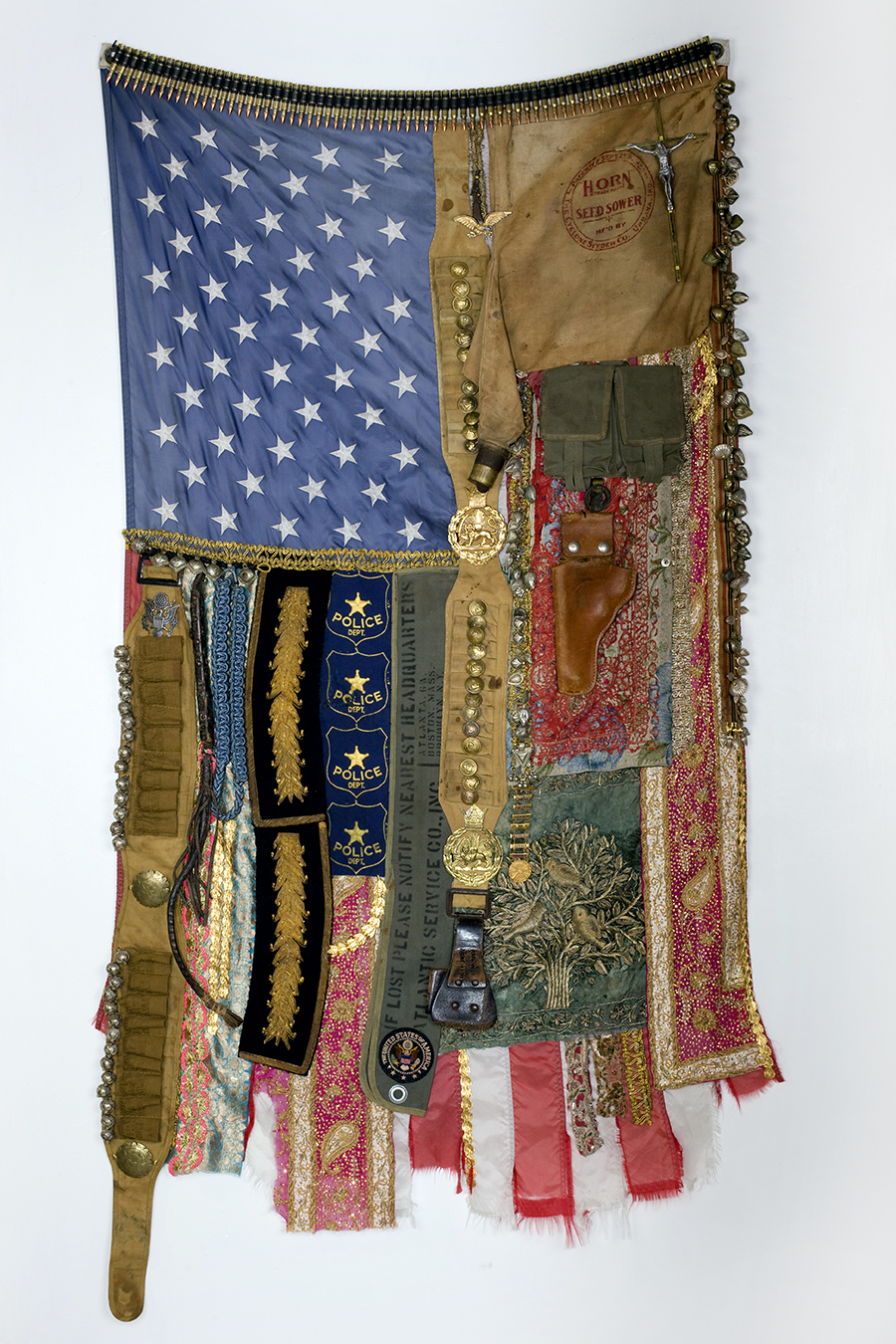 Flag #49: A Time of Anxiety, from the series Flags, 2010. Mixed media, 65 × 35 in.