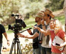 Ann LeSchander Raziel '87 directs on the set of her film The Park Bench