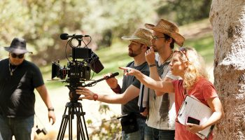 Ann LeSchander Raziel '87 directs on the set of her film The Park Bench