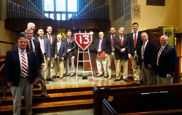Colgate Thirteen alumni from six different eras gathered June 10 to honor one of their group's founders, Bill MacIntosh '44, who passed away on May 17.