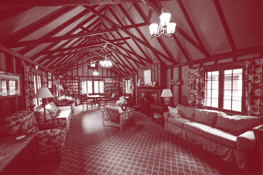 An interior view of a building with a vaulted ceiling at Colgate Camp.