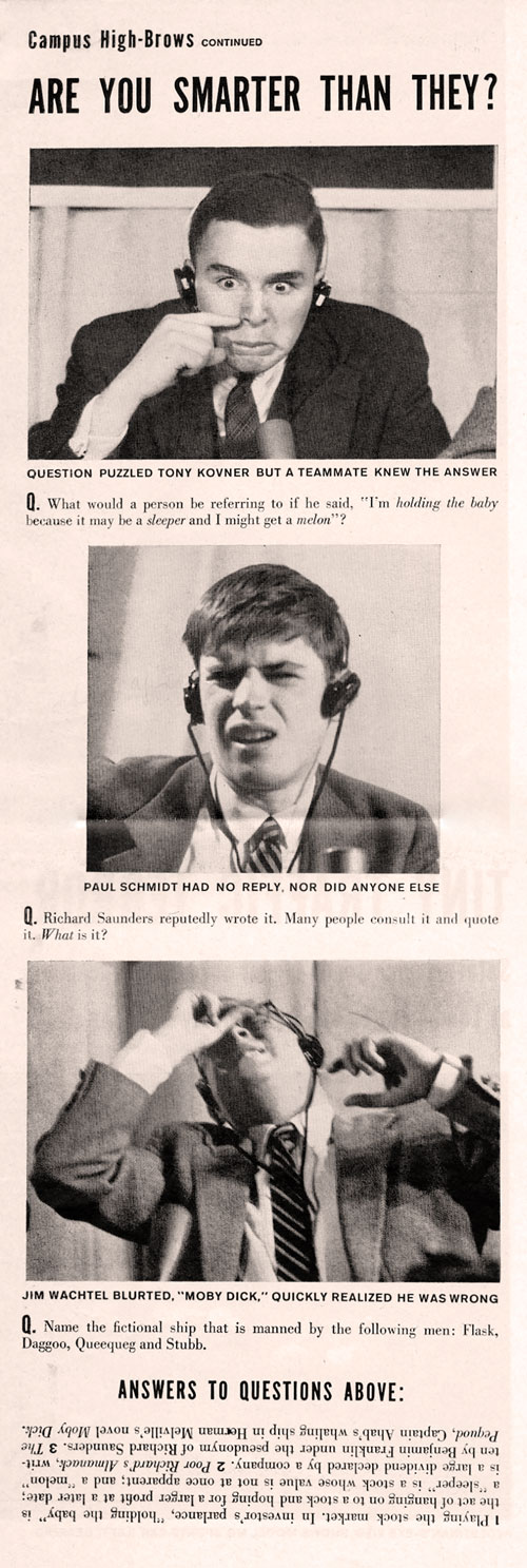 A scanned newspaper story highlighting faces of Quiz Bowl participants as they realize they've answered incorrectly.