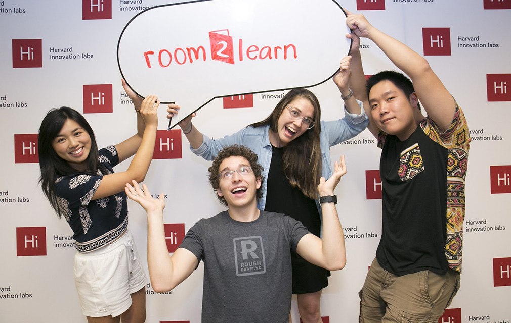 Founder Grace O'Shea '11 (second from right) and her colleagues from room2learn, a company that provides custom-design solutions for school communities. She developed the idea for the company when she was working as an 8th grade science teacher and realized the need for more flexible classroom space.