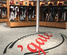 Interior of the remodeled Colgate University football locker room
