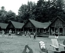 Black and white photo of Colgate Camp lawn