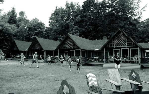 Black and white photo of the lawn at Colgate Camp